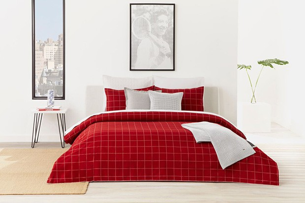 Lacoste Home Leste Red Bedding Collection & Lacoste Home Signature Logo Bath Towel