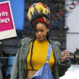 A Braless Rihanna Hits the Set of 'Ocean's Eight'