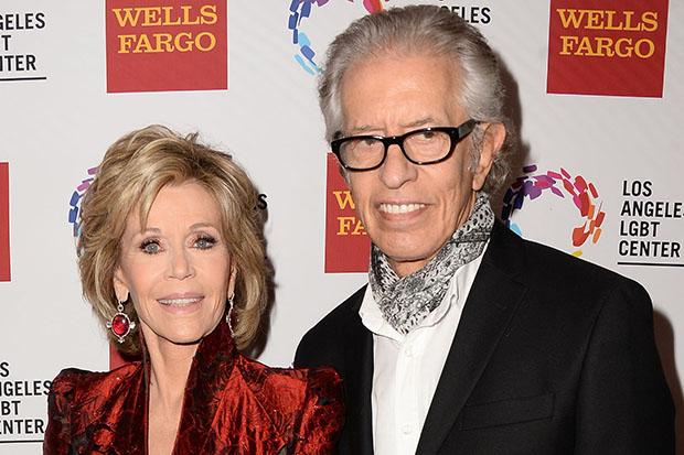 Jane Fonda(L) and record producer Richard Perry(R) attend the 46th Anniversary Gala Vanguard Awards at the Hyatt Regency Century Plaza