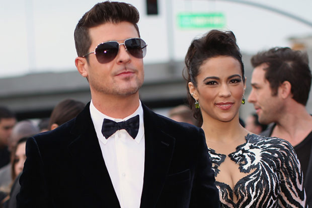 Robin Thicke and actress Paula Patton attend the 56th GRAMMY Awards