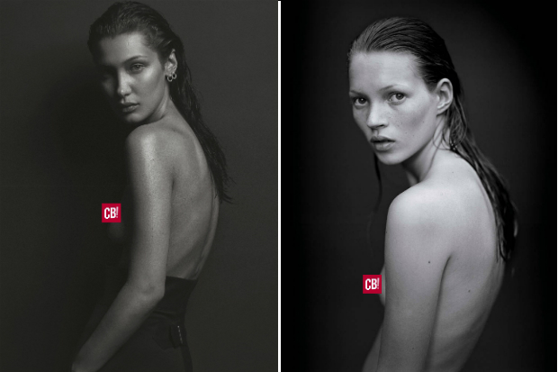 bella hadid kate moss side by side comparison