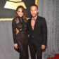 Chrissy Teigen and John Legend on the red carpet at the 59th annual Grammy Awards