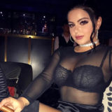 Ariel Winter Wears Satin and Lace to a Cigar Bar in China