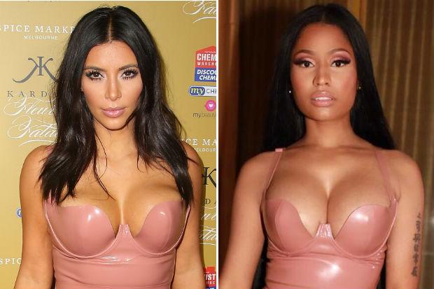 kim kardashian nicki minaj pink latex