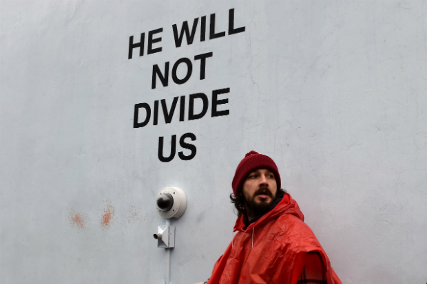 shia labeouf he will not divide us