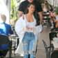 52371107 Reality stars Kim Kardashian and Khloe Kardashian are spotted out for lunch at Fabrocinis restaurant at the Beverly Glen in Los Angeles, California on April 7, 2017. Kim is celebrating the 10 year anniversary of her sex tape that has raked in over $100 million dollars. The girls went out for ice cream at the Deli after lunch to commemorate the occasion. FameFlynet, Inc - Beverly Hills, CA, USA - +1 (310) 505-9876