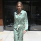 52376299 Model Gigi Hadid is spotted out and about in New York City, New York on April 13, 2017. Gigi was rocking a green and white swiped satin suit with her name sown on the front. FameFlynet, Inc - Beverly Hills, CA, USA - +1 (310) 505-9876