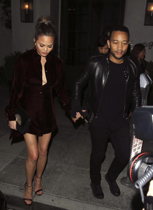 Chrissy Teigen And John Legend Have Dinner At Spago In Beverly Hills