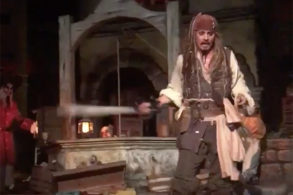 Johnny Depp Crashes 'Pirates' Ride