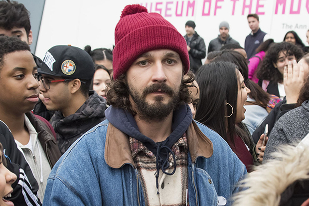 Shia LaBeouf's 'He Will Not Divide Us' Art Project In NYC