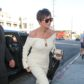 kris jenner beige off shoulder dress