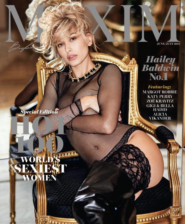 Hailey Baldwin Maxim Hot 100 boobs braless no bra fishnet