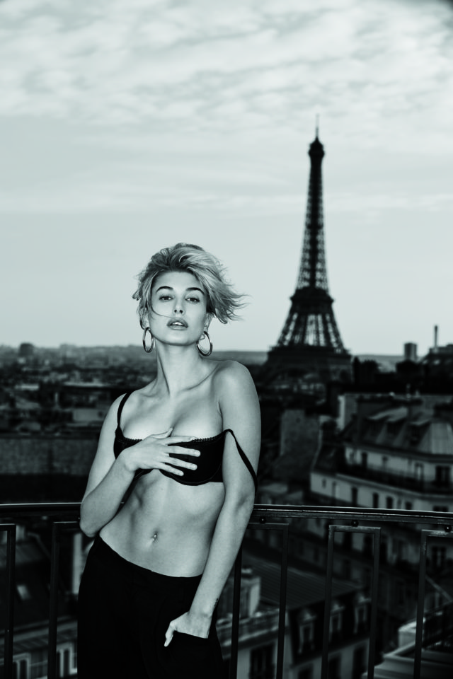 Hailey Baldwin Maxim Hot 100 paris eiffel tower black bra