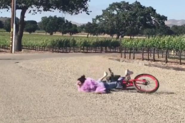 kendall jenner bike falls down tumble spill face plant