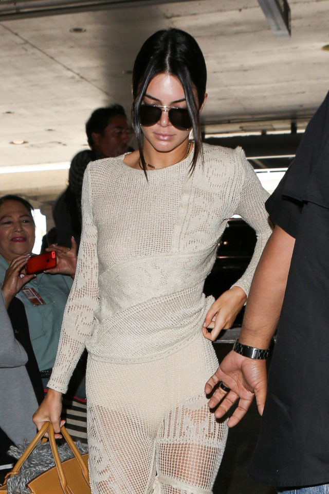 Kendall Jenner flashes some skin wearing crochet outfit!
