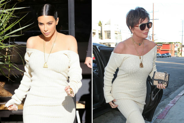kris jenner kim kardashian same exact dress knitted sweater side by side comparison