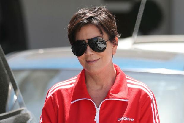 Kris Jenner red tracksuit