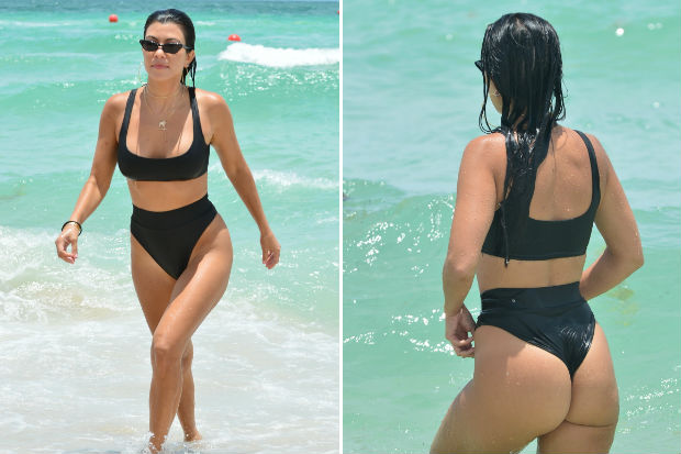 kourtney kardashian black bikini butt booty ass beach miami