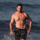 Hugh Jackman shirtless abs body beach