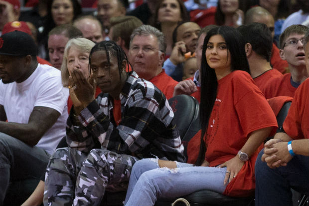 kylie jenner travis scott basketball game courtside