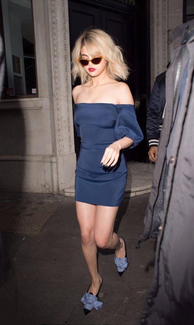 Selena Gomez off shoulder blue dress