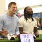 New England Patriots' Rob Gronkowski and Philadelphia Eagles' LeGarrette Blount
