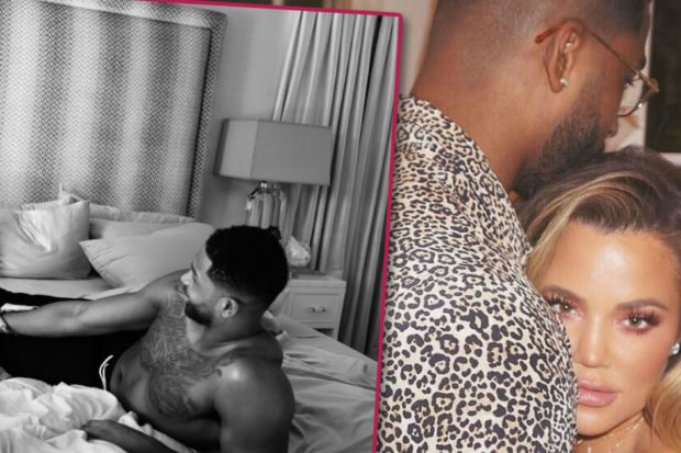 Hot Mama! Pregnant Khloé Kardashian Strips Down and Gets in Bed with Tristan Thompson