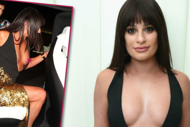 Oops! Lea Michele Slips a Nip During Wild Night Out