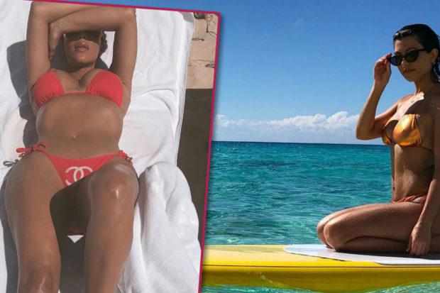 Kourtney Kardashian Just Totally Trolled Kim's Bikini Photos