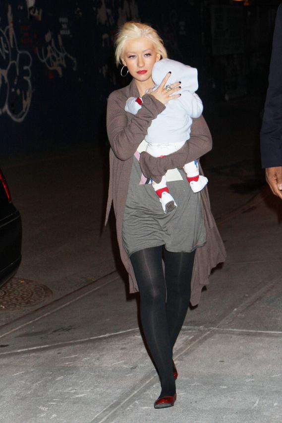 Christina Aguilera Walks Her Urban Babies