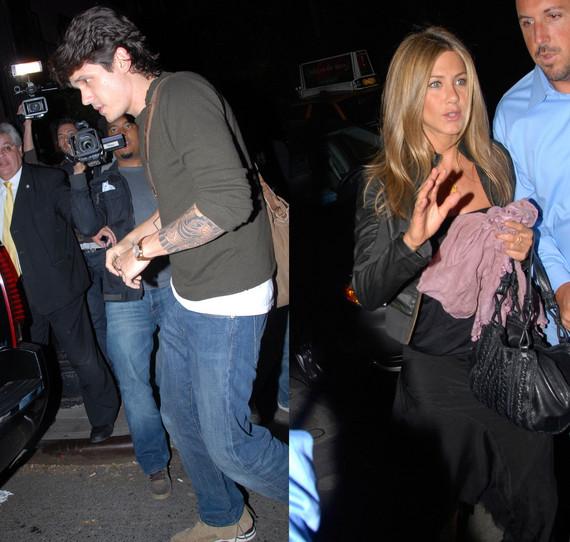 John Mayer and Jennifer Aniston Rub Love on NYC