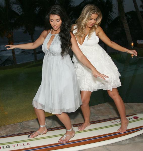 Kim Kardashian and Carmen Electra Flirt With Disaster!