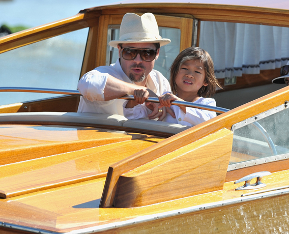 Brad Pitt Puts in Father-Son Time in Italy