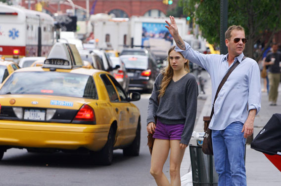 Kiefer Sutherland Takes a Taxi With His Daughter