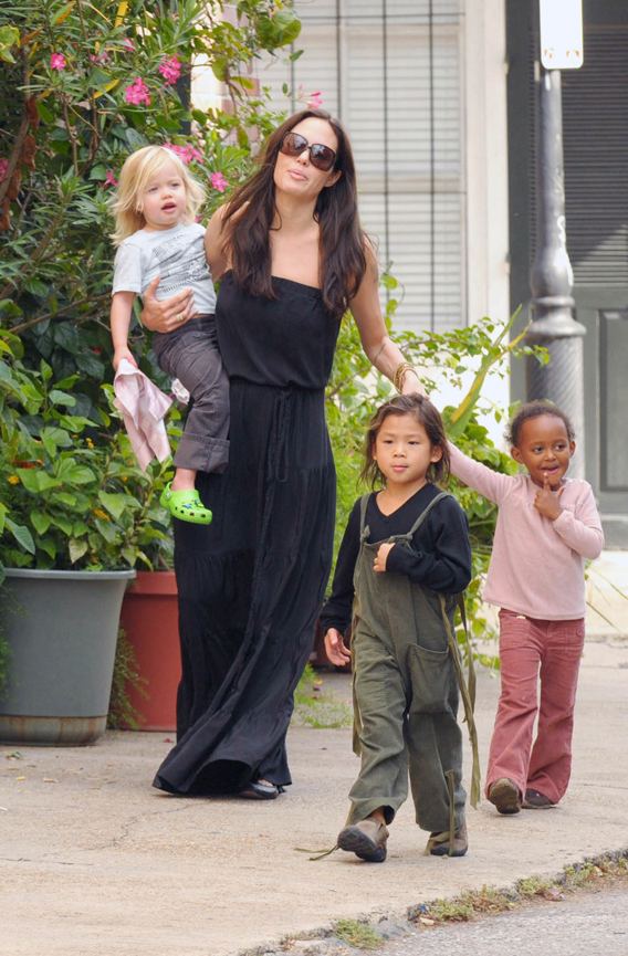 Angelina Jolie Haunting New Orleans with the Kids