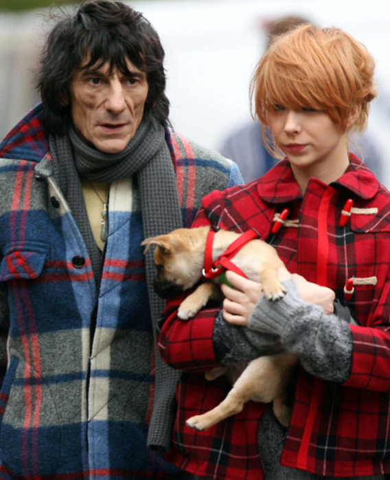 Ronnie Wood and His Waitress: Clashing Plaids and Ages