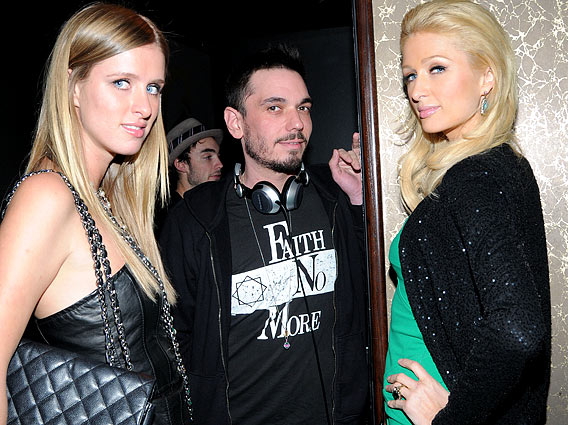 Two Hiltons Bookend DJ AM at Paris Mag Bash
