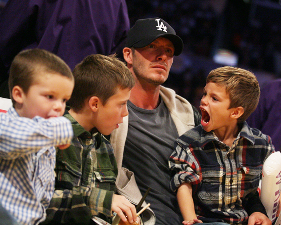 David Beckham and His Sons Are Hoop Fans