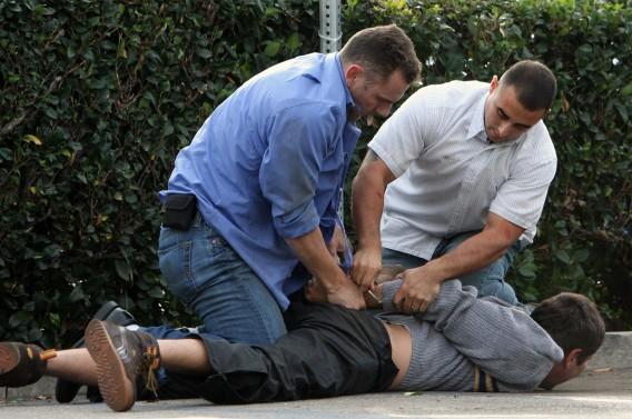 David Beckhams' Bodyguard Bust-Up Caught on Camera