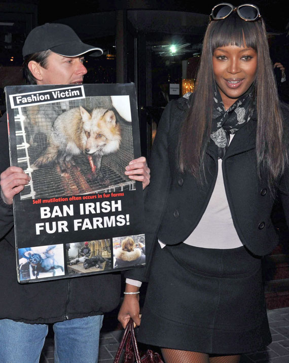 Naomi Campbell Oddly Calm Around Fur Protesters