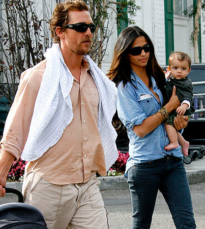 Matthew McConaughey Takes Little Levi to the Market