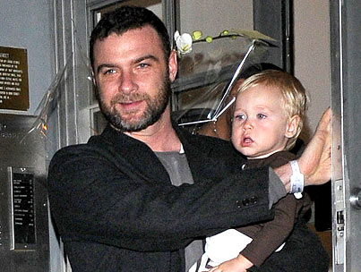 Schreiber and Son Visit Mom in the Hospital