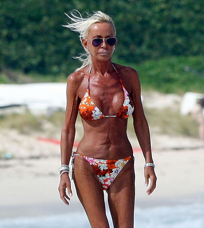 Donatella Versace on the beach