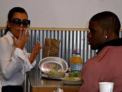 Kim Kardashian and Reggie Bush: Burritos and a Manicure