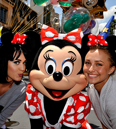 Katy Perry and Hayden Panettiere Smooch Minnie Mouse