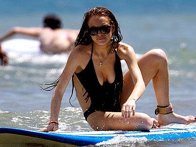 Lindsay and Ali Lohan Ride The Waves