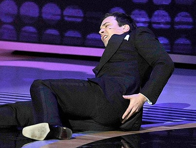 VIDEO: Jimmy Fallon Falls On Emmys Stage