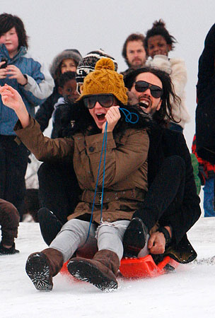 PHOTO GALLERY: Katy Perry & Russell Brand Sled in London