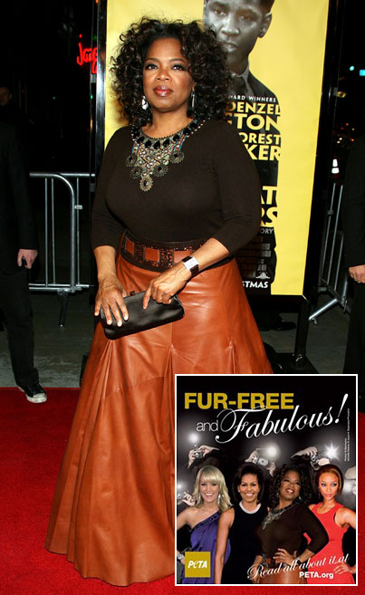 Oprah Winfrey Rallies Against Fur While Wearing Leather. Oops.