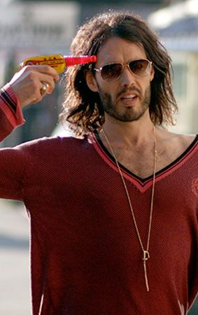 Russell Brand Practices for the Big Russian Roulette Tournament